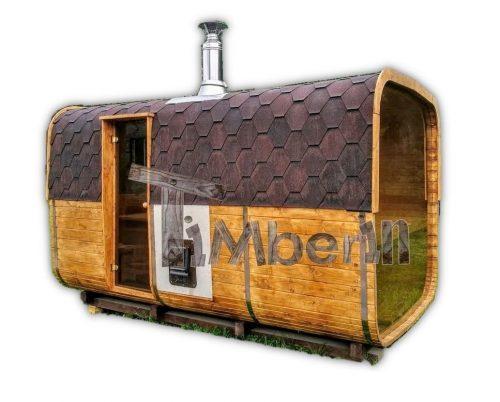 Sauna zewnętrzna beczka z przedsionkiem kwadratowa