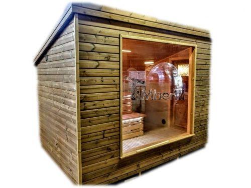 Sauna ogrodowa zewnętrzna nowoczesna ze szklanym frontem